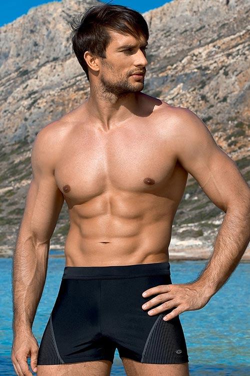 Černé pánské plavky boxerky Luigi s krátkou nohavičkou