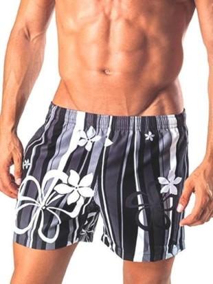 Černo-šedé pánské plavky GERONIMO nad kolena s květinovým motivem
