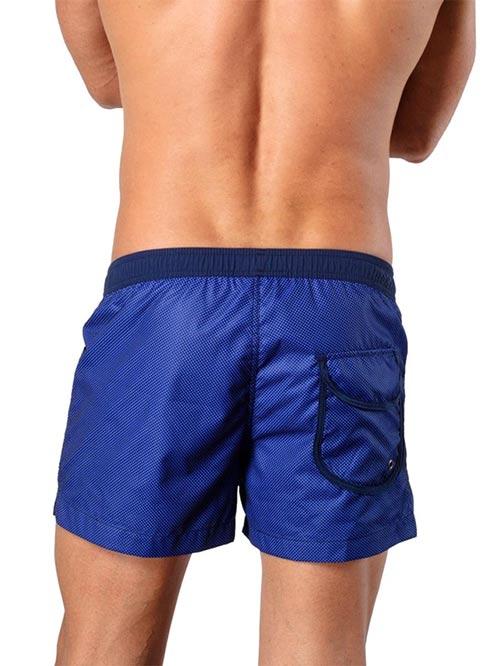 Modré plavky s drobnými kostičkami