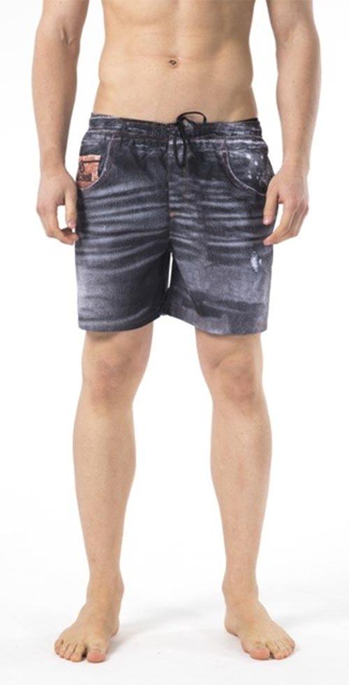 Pánské černé plavky imitující džínové šortky