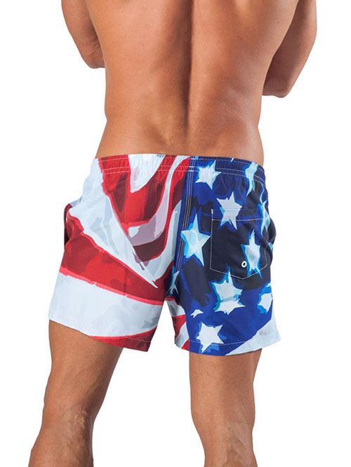 Americké pánské plavky GERONIMO 1532P1 Eagle. Luxusní plavkové šortky s  motivem americké vlajky ccf87acb72