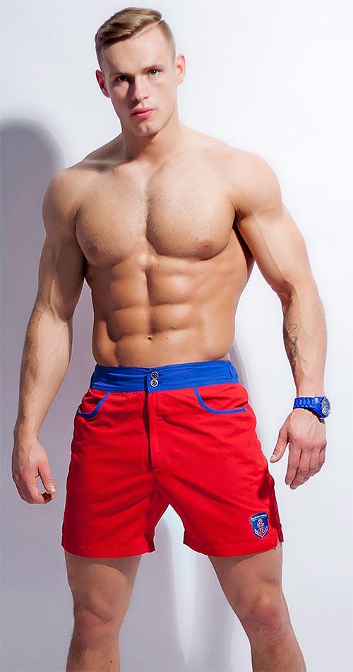 Červené pánské šortkové plavky