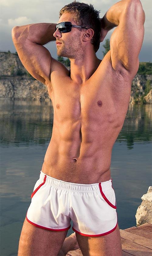 8afbafede Bílé pánské plavky retro stylu - Levné pánské plavky
