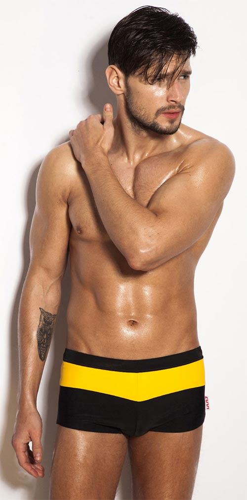 Nepřehlednutelné žluto-černé pánské plavky Alpha Male