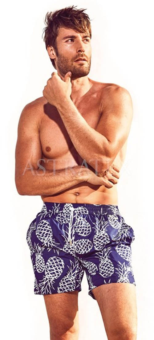 04289228166 Pánské plavkové šortky s motivem ananasů - Levné pánské plavky