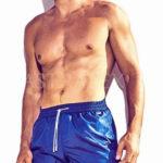 Lesklé italské pánské plavkové šortky