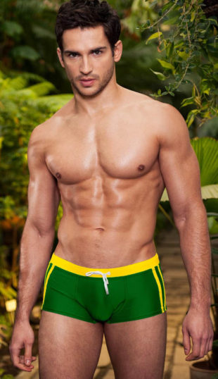 Zeleno-žluté brazilské pánské plavky