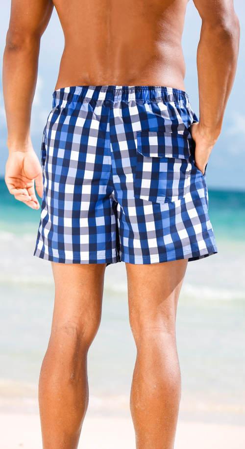 Modré kostkované pánské plavky