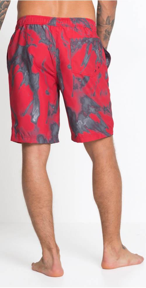 Červeno-šedé pánské bermudy plavky