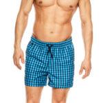 Kostkované modré pánské plavkové šortky